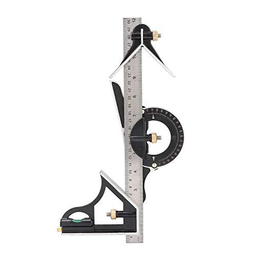 Meiyya Regalo de Abril Regla de carpintería, Regla de ángulo Resistente de Acero Inoxidable 0-180 ° Combinación de Tres Cuadrados 0.01 Herramienta de Medida de transportador para Op