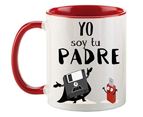 FUNNY CUP Taza Dia del Padre. Yo Soy tu Padre. Regalo Divertido para su día. Frikis papás. (Rojo)