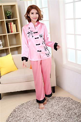 JFCDB Nachthemd 2 STKS Chinese Stijl Vrouwen Borduren Bloem Pyjama Set Hot Koop Satijnen Pyjama Pak Nieuwigheid Knop Nachtkleding ML XL XXL 3XL, Roze, M