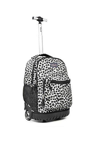 Tilami Rolling Backpack 18 Inch for School Travel, Grey Leopard