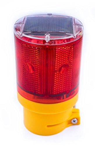 RK Safety WLIGHT-ST Solar Powered Emergency LED Strobe Lamp Lights Wireless Control | Traffic, Garden, Barricade, Road, Construction, Safety Signs Flashing Warning Flicker Beacon Lamp (Red)
