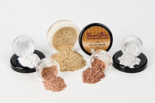 STARTER SET (BEIGE) Mineral Makeup Kit Bare Skin Sheer Powder Matte Foundation Blush Bronzer...