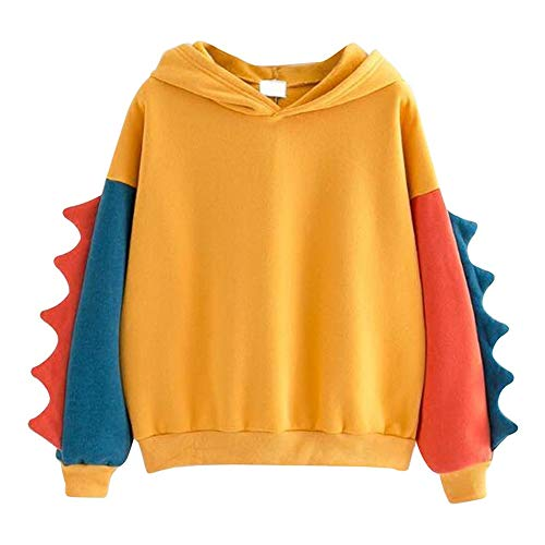 Aniywn Women Girls Cosplay Sweater Hoodie Cute Ears Costume Jacket Color Patchwork Pullover Shirt Top Yellow