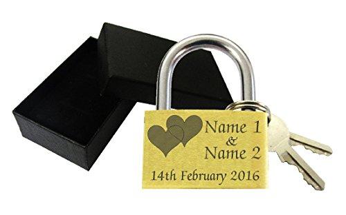 TMS Trading. Candado de 40mm con grabado amoroso personalizable (el grabado incluye dos corazones), caja de regalo; para Navidad, aniversario, cumpleaños