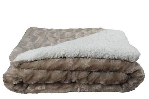 Desconocido Manta Borreguito para sofá, sillón y Cama 130x160 (Piel Sintética, Beige)