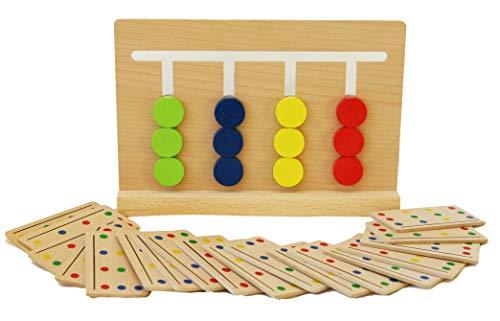 Toys of Wood Oxford Sortierspiel Holz für Kinder ab 3 Jahren - Farben nach vorgegebenen Mustern sortieren - Gehirntraining und Geschicklichkeitsspiel - Montessori Holzspielzeug