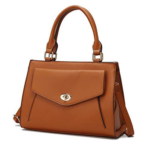 Bolsa tiracolo Mia K.Collection para mulheres bolsas e bolsas, bolsa feminina Katie de alça superior, bolsa feminina, Cognac Brown, Large