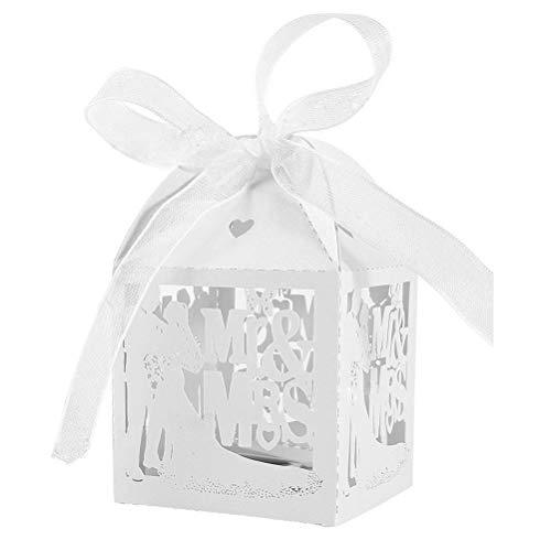 JZK® 50 x Blanco cajas favorece dulces bombones dulces confeti decoraciones para boda compromiso cumpleaños fiesta bodas banquete bodas (los novios A)