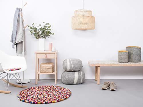 myfelt Filzkugelteppich Lotte - Ø 50 cm, ideal für Schlaf-, Wohn-, Kinderzimmer, Flur & Bad