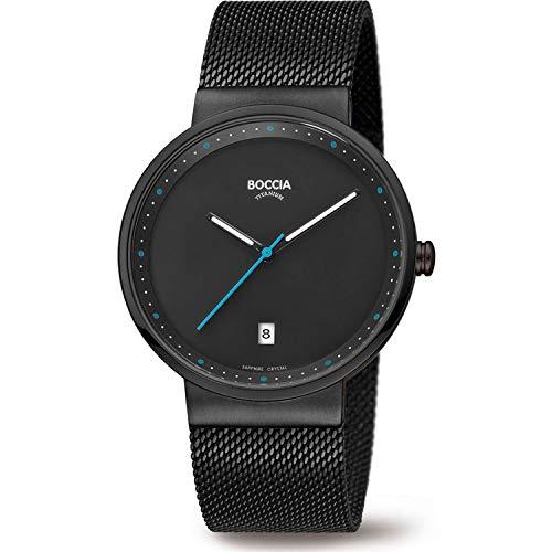 Boccia Herren Analog Quarz Uhr mit Edelstahl Armband 3615-02