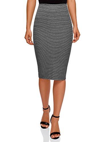 oodji Ultra Mujer Falda Texturizada con Elástico, Gris, ES 34 / XXS