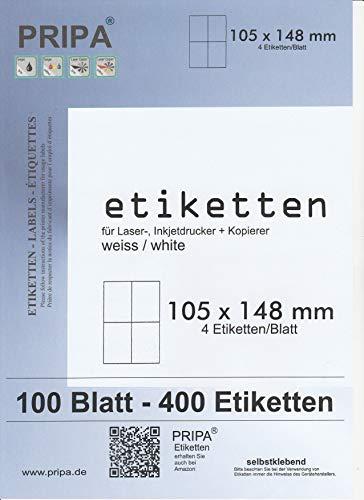 400 Etiketten 105 x 148 selbstklebend auf insgesamt 100 Blatt DIN A4, allround-Qualität weiss