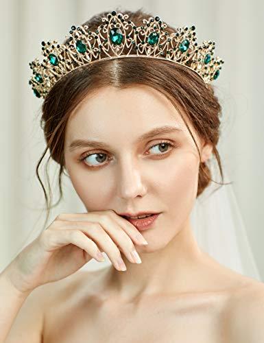 Coucoland Smaragd Braut Tiara Prinzessin Krone Königin Diadem Kostüm Party Zubehör für Geburtstag Halloween Fasching