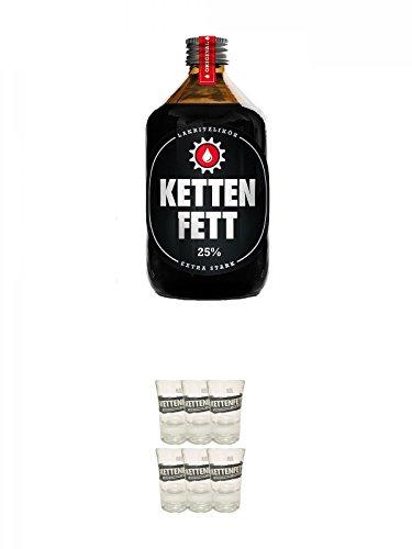 Kettenfett Lakritz Likör 0,5 Liter Kanne + Kettenfett Shot Glas 6 Stück