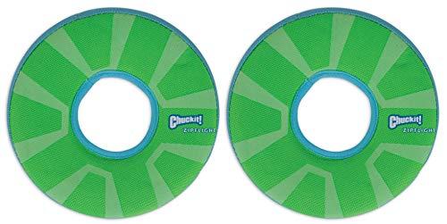 Chuckit! 2 Pack of Max Glow Zipflight Dog Toys, Medium 8.5-Inch