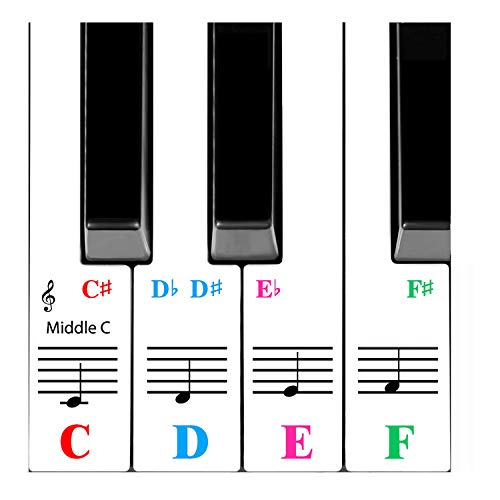 Piano Sticker For 61 Key Keyboards White Keys -Transparent and Removabl