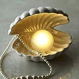 Lemonadeus Shell Pearl Light Mermaid Theme Ceramic Jewelry Rings Tray Holder and Seashell Night Lamp (Ivory)