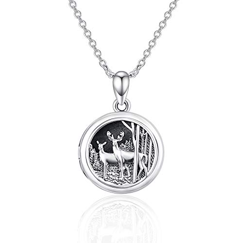 Locket Necklace That Holds Picture 925 Sterling Silver Giraffe Photo Lockets Memory Pendant Gift for Women Mom Daughter Grandmother Family
