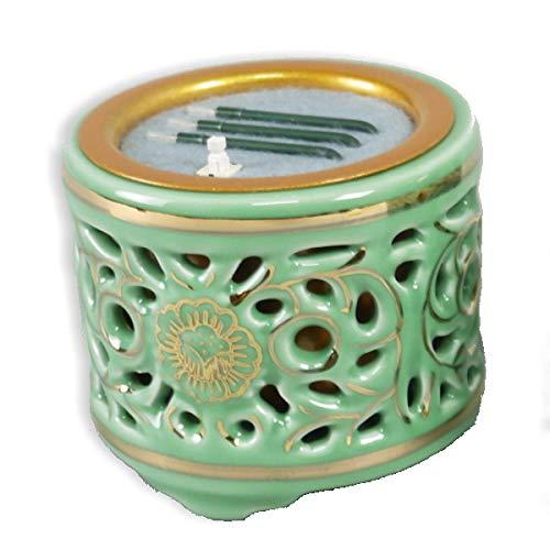 火を使わず安全な電子線香 仏具 LED電子線香 サンやすらぎ 寝かせ線香タイプ 透かし香炉差金付 3.0寸 (東用)