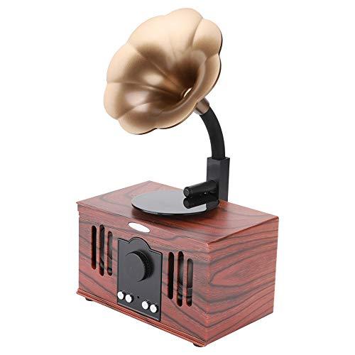 Bewinner Altavoz Retro portátil Gramófono Forma Sonido estéreo USB Inalámbrico Radio Vintage Altavoz Retro Bluetooth para Viajes de Fiesta en casa, Decoración de Escritorio, Gran Regalo