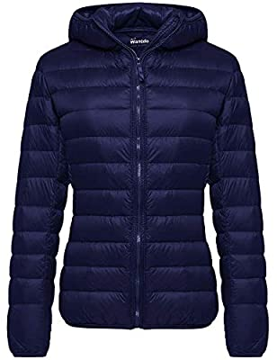 Wantdo Women's Warm Winter Packable Down Coat Lightweight Jacket Navy X-Small