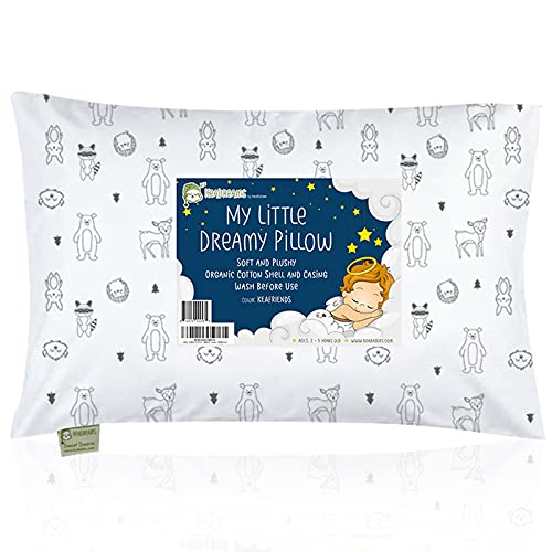 Toddler Pillow with Pillowcase - 13X18 Soft Organic Cotton Baby Pillows for Sleeping - Machine Washable - Toddlers, Kids, Boy, Girl - Perfect for Travel, Toddler Cot, Bed Set (KeaFriends)
