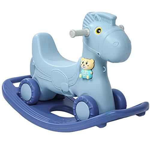 ZHKXBG Baby Schaukelpferd, Kinder Schaukel, Indoor Outdoor Baby Schaukelstuhl, Säugling Schaukel Tier, Geschenk für 1-8Y Kinder,Blau
