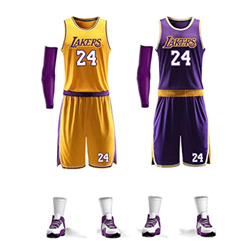 #24 Kobe Herren Basketball Uniform Bryant Fan Edition Trikot Classic Ärmelloses Top und Shorts Gr. L, gelb