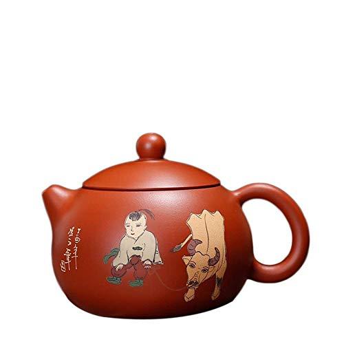 BINGFANG-W café Electrónica multímetro XI Shi Tetera de Yixing Vaca Pintada de té Tetera Zhu Ni Mineral Arena Vaquero en la Lluvia de Arena Tetera Pot (Color: Rojo) Juegos de té