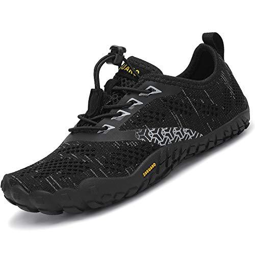 SAGUARO Calzado Descalzos Niños Zapatillas de Trail Niñas Transpirables Minimalistas Zapatos de Deporte Antideslizantes Fitness Correr en Asfalto Barefoot Zapatillas Senderismo Exterior Negro 27 EU