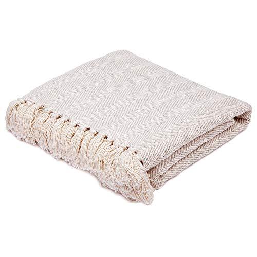 Americanflat Zaina Throw Blanket in Cream Herringbone  100% Cotton with Fringe  50quot x 60quot