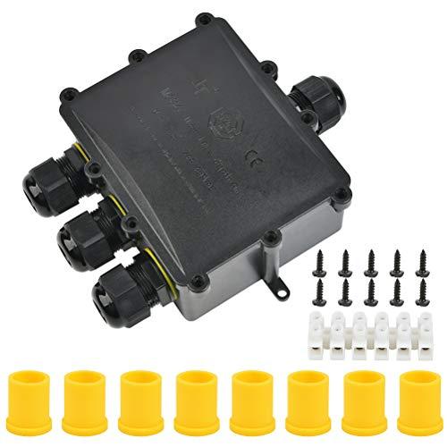 FOROREH Caja de Conexiones, Conector Impermeable IP68 4 Vías, Conectores de Caja...