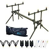 Croch Carp Fishing Rod Pod Set with Bite Alarms Indicator Swinger Rests and Bag
