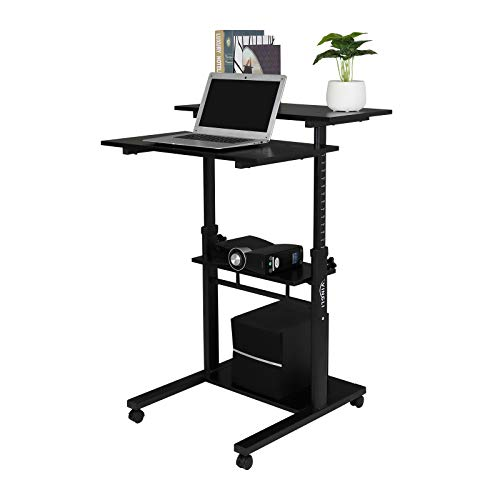 VINGLI Stand Up Home Office Mobile Desk with Scale Line, Ajustable Height with Locking Wheels (Black)