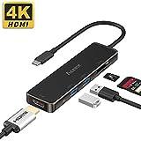 adaptador USB C 6 en 1 con suministro de energ/ía para 2016//2017//2018//2019 Macbook pro Hub USB C Samsung Galaxy 1 * puerto tipo C Huawei lector de tarjetas TF // SD Gris 2 * puerto USB 3.0