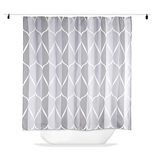 Hoomall Duschvorhang 180x180cm Anti-schimmel Badezimmer Deko wasserdichte Waschbar Shower Curtain mit 12 Ringe 3D Grün Pflanzen/Halloween (Grau)