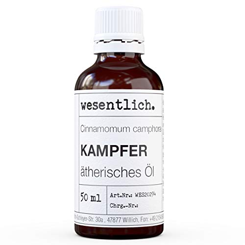 wesentlich. - Aceite esencial de alcanfor, 100 % natural (botella de cristal), para quemador de aceites esenciales y difusor (50 ml)