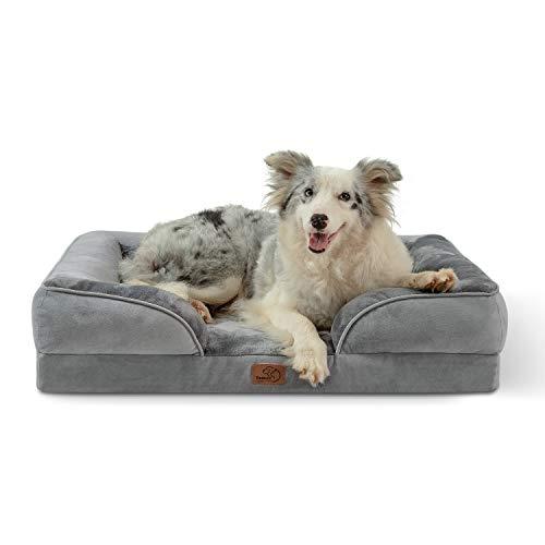 Bedsure Letto per Cani Grande 89x63x18cm - Divano per Cane Taglia Grande in Uovo Foam, Colore Grigio, Cuscino per Cani Sfoderabile e Lavabile