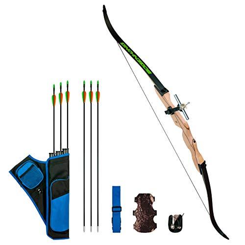 Bogenkönig Arc de tir à l'arc recourbé pour adulte - 12 kg - Pour débutant - Avec accessoires de tir à l'arc