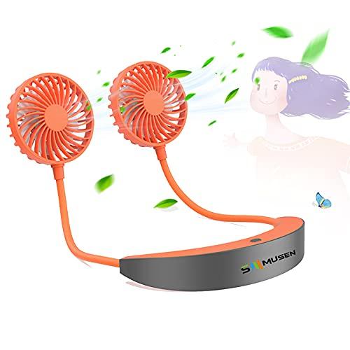 Ventilatore da Collo Portatile, 5200 mAh Ricaricabile Ventilatore USB Personale, Ventilatore Raffrescatore Mani Libere, 360 ° Regolabile Ventilatore Personale per Ufficio, Aria Aperta, Viaggi, Casa