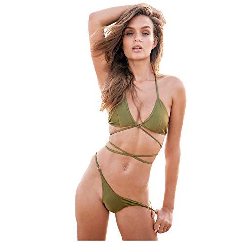 YANFANG Traje de baño Mujeres Vendaje De Dos Piezas Color SóLido con Cuello En V Bikini Traje BañO Ropa Playa BrasileñOs BañAdor Push Up Relleno Tubo