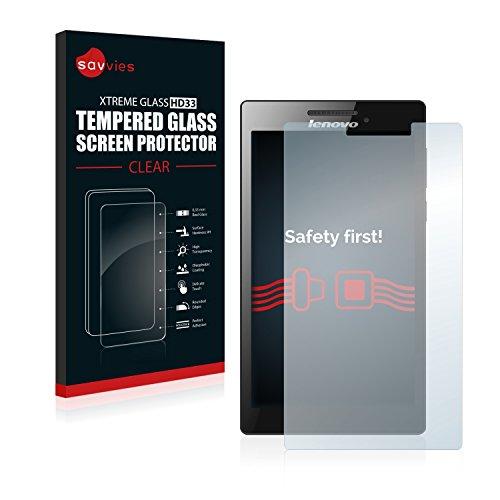 Savvies Panzerglas kompatibel mit Lenovo Tab 2 A7-10 - Echt-Glas, 9H Festigkeit, Anti-Fingerprint