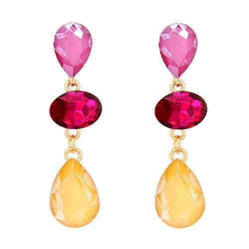 TEMPUS FUGIT. Pendientes Largos, Chapados en Oro, con cristales de colores brillantes, Incluye caja para regalo