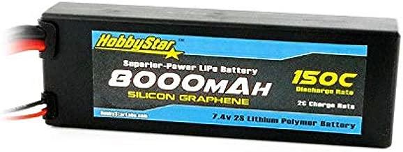 HobbyStar 8000mAh 7.4V, 2S 150C Silicone Graphene, Hardcase LiPo Battery - Traxxas Plug