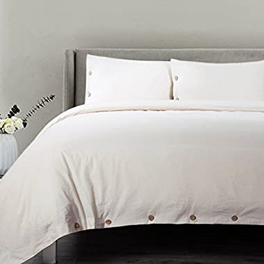 Bedsure Cotton Duvet Cover King Size Cream Bedding 3 Pieces Duvets Covers Sets 2 Pillow Shams