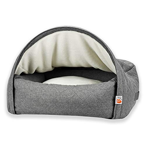 Sleepy Fox Snuggle Cave – Premium Dog Bed – Quilted Grey Fabric – Size Small