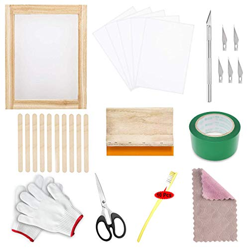Siebdruck-Set,Langlebig und Sicher Siebdruck Set Mesh Screen Printing Kit Siebdruck-set Mit Siebdruckrahmen Holzspatel Feines Schnitzmesser Anfänger Erste Schritte Tools(37 Stück)