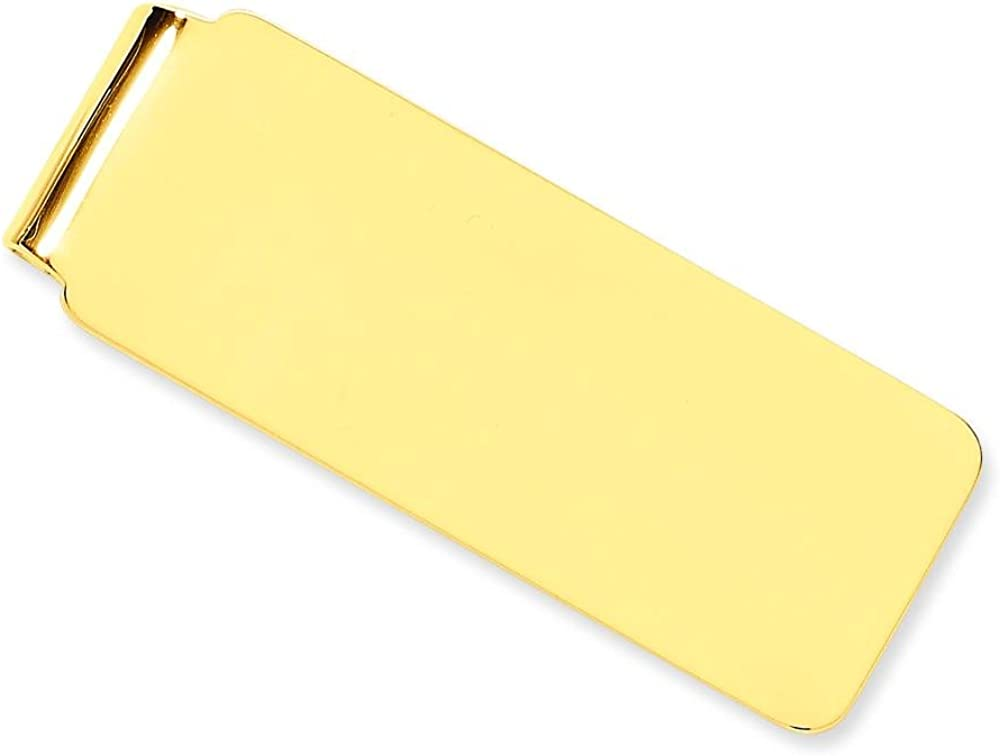 14K Yellow Gold Money Clip Engravable Mens Jewelry