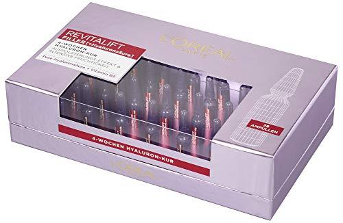 L'Oréal Paris Hyaluronsäure-Ampullen hochdosiert für das Gesicht, Filler-Shots mit purem Hyaluron für Intensive Feuchtigkeit 4-Wochen-Kur, 28x 1,3ml