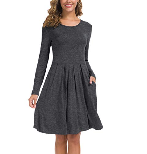 KORSIS Women's Long Sleeve Pleated Loose Swing Casual Dress with Pockets Dark Gray 2XL
